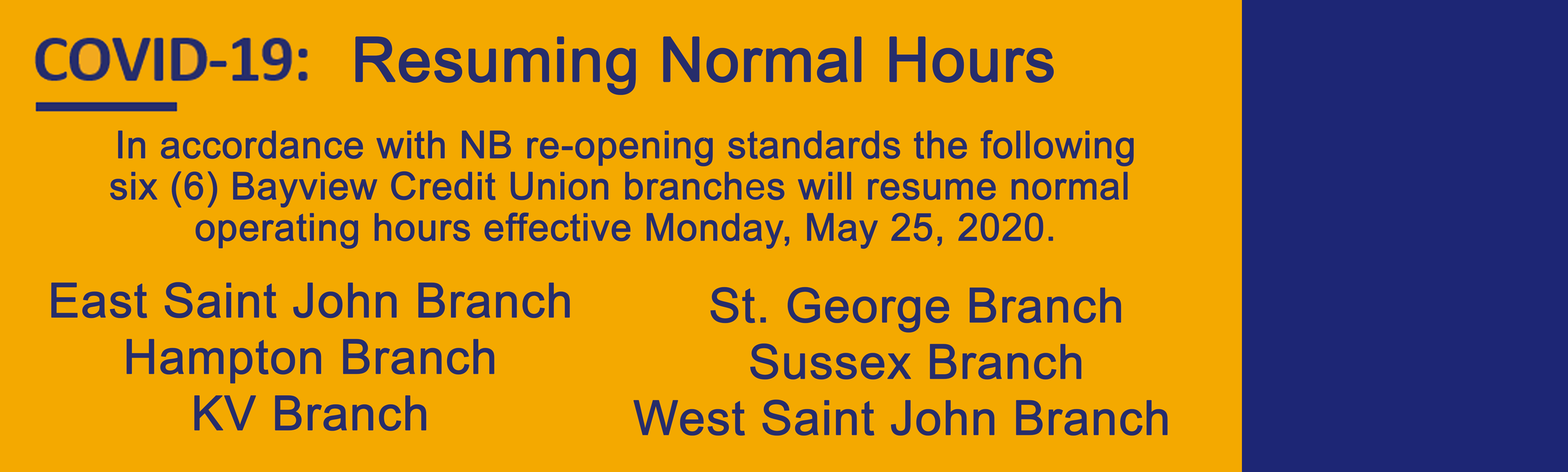 Six Branches Resume Normal Hours