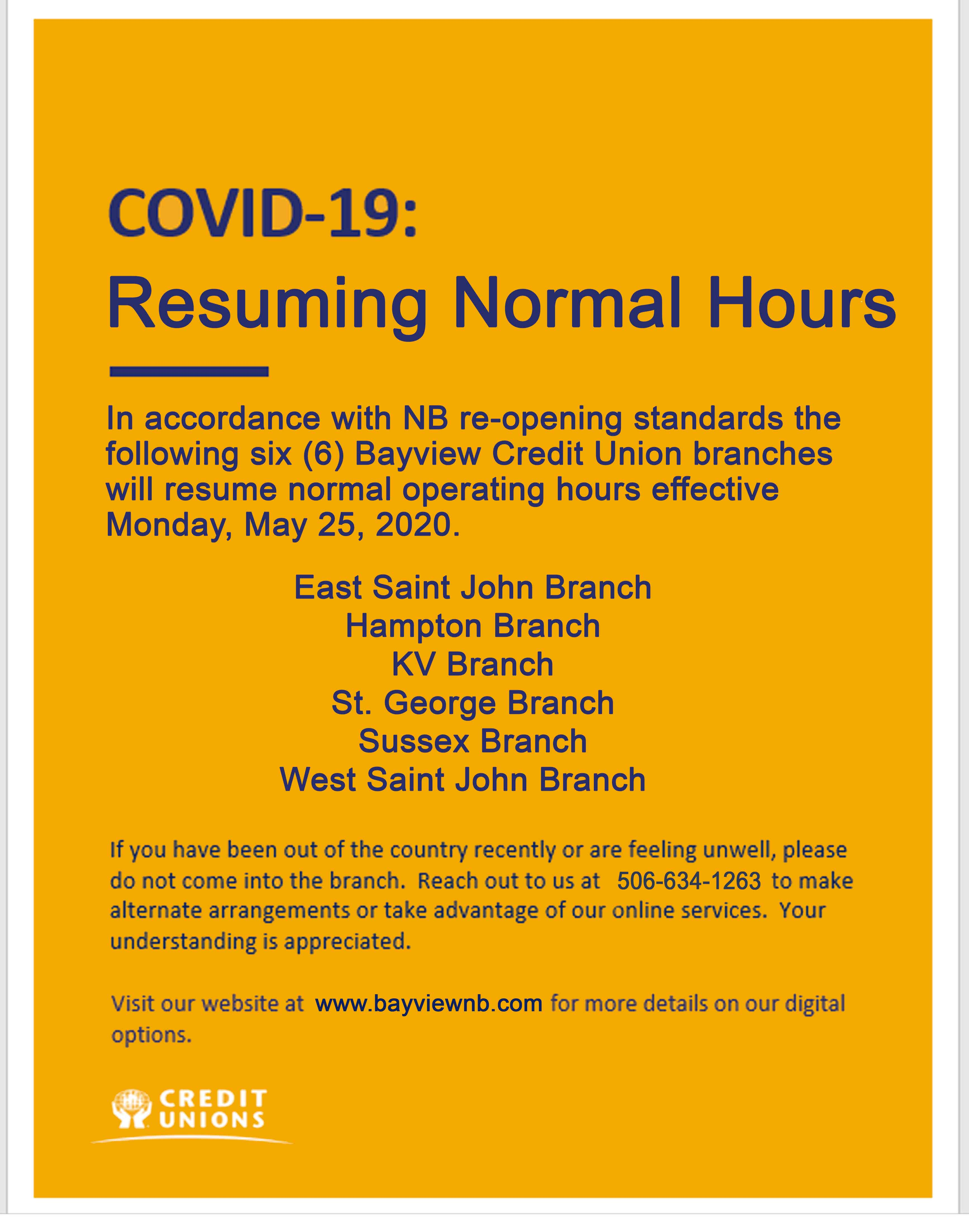 6 Branches resume normal hours